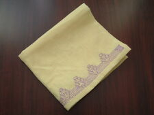 vintage yellow table runner with lilac trim tea towel