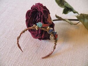 Copper Bracelet Cuff Red Jasper Turquoise Lapis Brass Beads Artisan Wire Art