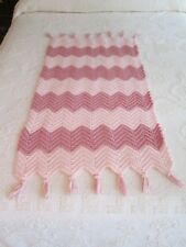 """Pink Hand Crocheted Baby Afghan Throw Lap Blanket with Fringe 25 by 44 """""""