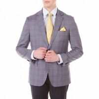 Daniel Hechter Mens Sport Coat Gray Size 36 Short Tuxedo Plaid Printed $295 #622