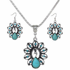 Trendy Vintage Peacock Chunky Turquoise Carved Pendant Chain Necklace Earrings