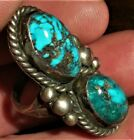 VINTAGE NAVAJO QUALITY TURQUOISE STERLING SILVER RING STOPLIGHT STYLE vafo