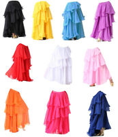 Three Layered Tiered Belly Dance Tango Samba Carnival Gypsy Skirt Fancy Costume