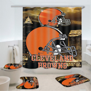 Cleveland Browns 4PCS Bathroom Rugs Shower Curtain Toilet Seat Cover Bath Mats