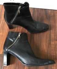 Sesto Meucci Women's Black Leather Ankle Heel Bootie Double Zipper Sz 8.5 AA