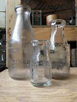Vintage Quart Pint & Quarter Pint Milk Bottle Murphy Ward Dairy Chicago Illinois
