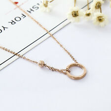 Women's 18K Rose Gold GP Roman Numerals 12mm Hoop Ring Circle Pendant Necklace