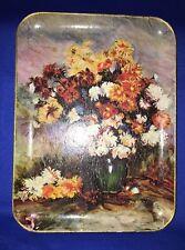 "Vintage Bar Tray 12"" by 9"" Floral Design ENESCO Japan Composite ALCOHOL PROOF"