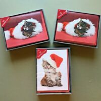Lot of 3 boxes of cat Christmas cards 12 per box (36 total) adorable kittens