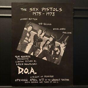 Sex Pistols D.O.A. Rare 1981 Double Sided Handbill NYC Premier of the Movie!