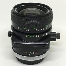 Canon 35mm f2.8 FD TS SSC tilt shift S.S.C manual focus lens BL breechlock Cine