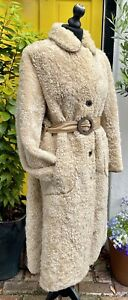 Vintage Morlands Curlam Real Lambskin Belted Coat Shearling Cream Sheepskin UK12