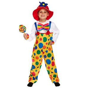 Clown Costume Large Children Age 10-12 Fancy Dress Up Party Jester Colourful Kid