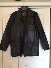 MENS DARK BROWN LEATHER MILITARY JACKET - Size L - SUPERIOR LEATHER GARMENTS