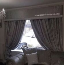 Silver Crushed Velvet Curtains And Matching Window Pelmet 6 Foot