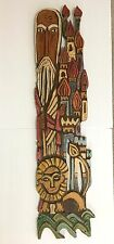 Carving on Antique Barn Wood: Daniel the Lion and Babylon City Signed Dated 37""