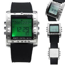 Duarble Remote Control Alarm TV DVD Waterproof Steel Rubber Sports Wrist Watch