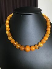 Old, yellow color Baltic Amber necklace ( 22.4 g.) 213E