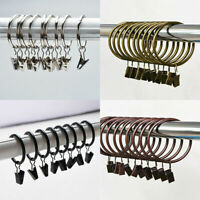 10PCS Metal Curtain Hooks With Clips Hanging Pole Rod Voile Net Rings 28MM 30MM