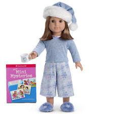 NEW American Girl Doll LET IT SNOW SLEEP SET OUTFIT PJS Pajamas Shoes Tin Cup +