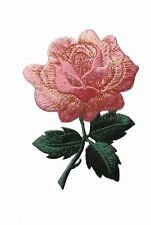 """#4535 3 1/4"""" Pink Rose Flower Embroidery Iron On Applique Patch"""