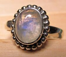 925 silver everyday rainbow moonstone ring UK O½/US 7.5 Free UK Shipping.
