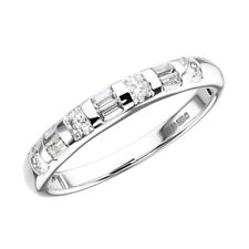 0.50ct Bar Set Runde & Baguette Schnitt Diamant Halb Eternity Ring in 950 Platin