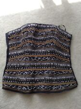 BEBE boned beaded silver gold thread embellished  corset bustier XS worn once