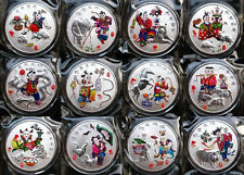 Complete Set of 12 Chinese Zodiac Silver Colour Medal Coins