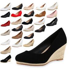 Klassische Damen Keilpumps Wedges Bequeme Basic Abend Schuhe 811220 Top