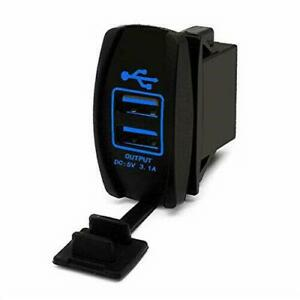 Car 5V 3.1A Dual USB Phone Charger Blue LED Indicator Power Supply Waterproof 1x