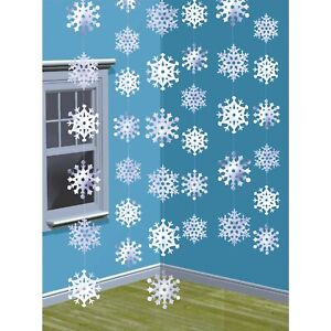 6 CHRISTMAS SNOWFLAKE STRING PARTY HANGING DECORATIONS FROZEN WINTER WONDERLAND