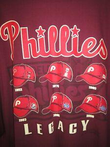 Mens Majestic Philadelphia Phillies Legacy Hat / Caps Logos Baseball T-Shirt 2XL