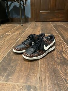 Nike Dunk High Skinny Sneakers 5.5 Women's Black Leopard Animal Print 532362-011