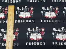 Friends Horror Movie Characters Halloween Cotton Woven Fabric by the 1/2 Yard