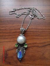 "ITALY STERLING SILVER  PEARL & OPAL 2.5"" BALI STYLE  PENDANT & 29"" SPIRAL CHAIN"