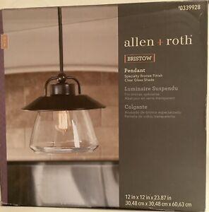 ALLEN+ROTH 0339928 BRISTOW PENDANT LIGHT BRONZE FINISH W/CLEAR GLASS SHADE