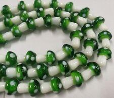 100PCS  Dark Green Mushroom Lampwork Glass Loose Beads Gb0002