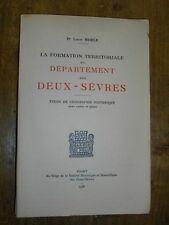 LA FORMATION TERRITORIALE DES DEUX-SEVRES GEOGRAPHIE HISTORIQUE 1938 POITOU