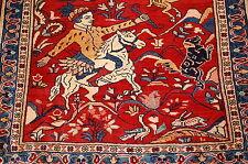 c1930s ANTIQUE ANIMAL SUBJECTS PERSIAN SAROUK RUG 3x3.2 KORK WOOL_COLORFUL