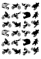 24 PRECUT MOTOCROSS BIKE SILHOUETTE STAND UP EDIBLE CUPCAKE FAIRY CAKE TOPPERS