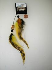 HANDMADE USA Feather Hair Extensions ONE OF KIND Yellow Grizzly TREE FROG CLIP