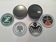 Official James Bond 007 Villain logo Set of 4 Metal & Cork Coasters & TIN  NEW