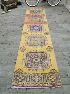 Yellow Stair Rug 3x12 ft, Turkish Corridor Rug Handmade Hallway Rug Kitchen Rug