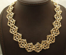 "18"" Bellezza Textured Twisted Oval Link Chain Necklace Yellow Solid Bronze"