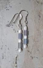 Pretty Iridized Glass &Cultured Pearl Earrings Sterling Silver .925 French Hooks