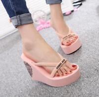 Womens Platform Wedge High Heel Flip Flops Beach Travel Shoes Sandals Slippers