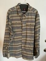 Swiss Tech Mens Long Sleeved 3XL 54-56 Shirt Stripped Blue Grey Cream Brown