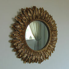 Gold Feather Effect Wall Mirror living room bedroom hallway vanity round circle