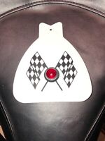 WHITE BICYCLE MUD FLAP CHECKERED FLAGS FITS SCHWINN WITH RED JEWEL SOLID WHITE